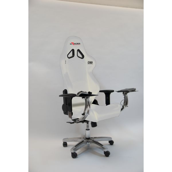 BeRacer®  Office Chair White with armrests and mouse and keyboard support