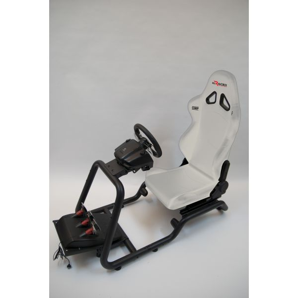 BeRacer® Racing Seat  White steering wheel and pedal